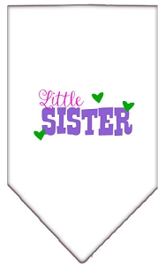 Little Sister Screen Print Bandana White Large